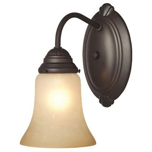 Westinghouse 6223800 Trinity II One-Light Interior Wall Fixture, Oil Rubbed Bronze Finish with Aged Alabaster Glass (Traditional Westinghouse Sconce)