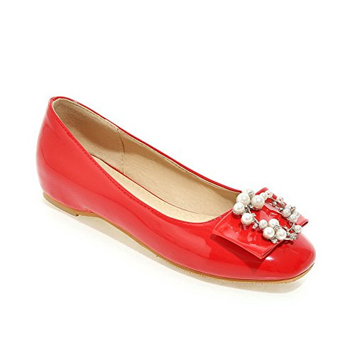 Amoonyfashion Womens Pu Tacco Basso Quadrato Punta Chiusa Solide Pull-on Pumps-shoes Rosso