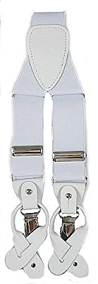 Stylish White Adjustable Button and Clip Convertible Ends Suspenders with 3 Clips
