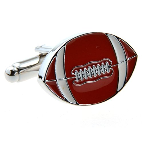 MRCUFF Football Pair Cufflinks in a Presentation Gift Box & Polishing Cloth