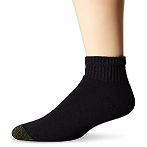 Gold Toe Men's Cushioned Cotton Quarter 7-Pack, Black, Sock Size:10-13/Shoe Size: 6-12