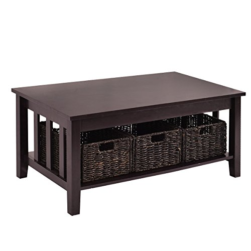 Premium Low Wooden Woodgrain Coffee Table With 3 Wicker Baskets And Lower Shelf For Contemporary Home And Living Room. Dark Brown by Goplus