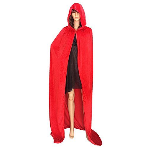dds5391 Dds5391 Special Festival Offers Adult Halloween Cloak Hooded Floor-length Cape Party Witch Robe Cosplay Costume Red XL -