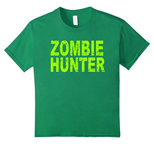 Kids Zombie Hunter T Shirt Scary Halloween 6 Kelly Green