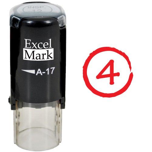 Round Teacher Stamp - GRADE 4 - Red Ink