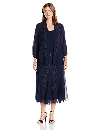 R&M Richards Women's Plus Size Beaded Chiffon Jacket Dress, Navy, 22W