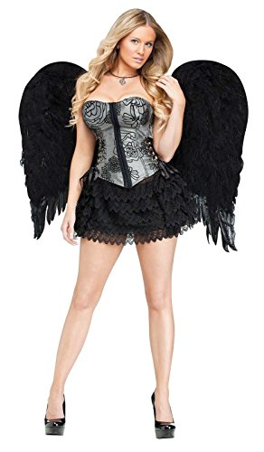 [Fun World Adult Feather Angel Wings Costume Accessory Black One Size] (Black Angel Costume Accessories)