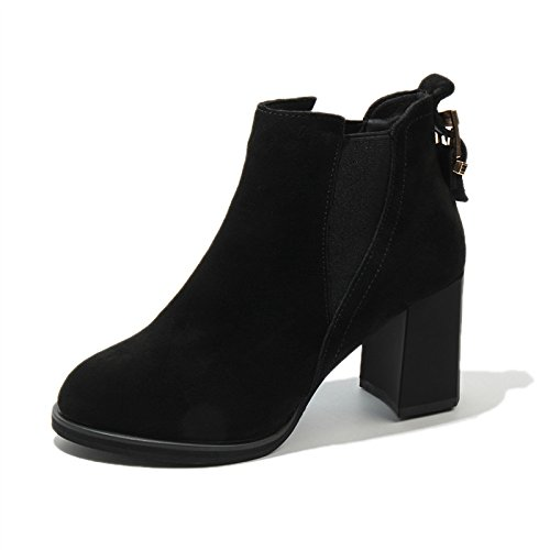 Black El Estilo Martin Tacon Británico Khskx Con Grueso Zapatos Botín Invierno Botas hembra De 7AfwqAvO0