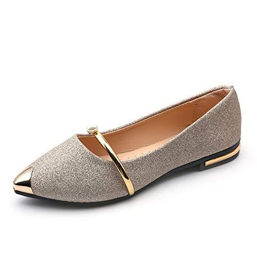 Louis Zippy Organizer Vuitton (2019 Summer Women Flat Shoes Working OL Flats Pointed Toe Comfortable Women's Flat Shoes,Gold,7.5)