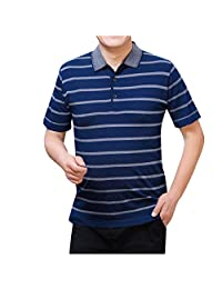 Colmkley Men's Summer Fashion Casual Lapel Striped Short Sleeves T-Shirts Tops