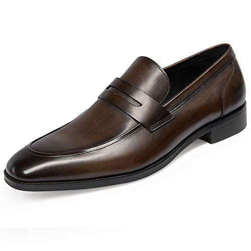 GIFENNSE Men's Leather Loafers Shoes Mens Dress Shoes,Black Shoes,Brown Shoes(10US/Dark Brown