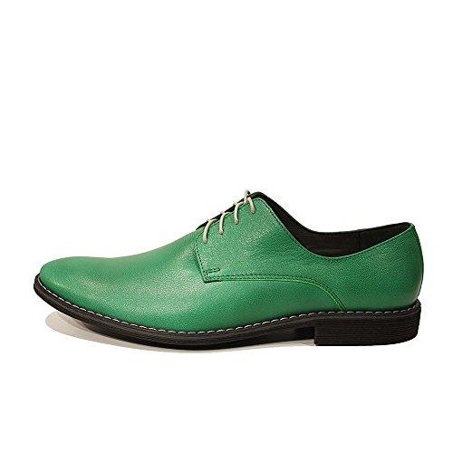 Modello Rufo - Cuero Italiano Hecho A Mano Hombre Piel Verde Zapatos Vestir Oxfords - Cuero Cuero suave - Encaje