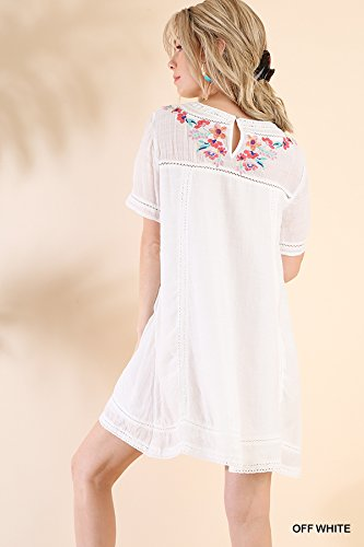 Umgee Women'S Casual Style Bohemian Embroidered Short Sleeve Poly Cotton Dress Or Tunic (S, White)
