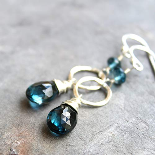 London Blue Topaz Earrings Sterling Silver Hammered Circles Dangle Drops Gemstones
