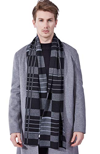 KUMONE Men Winter Cashmere Scarf Long Warm Black Gray Plaid Scarves