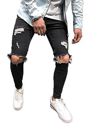 Men's Ripped Skinny Denim Jeans Slim Fit Stretch Pencil Pants Distressed Rip Trousers Stylish Straight Leg Demin Pants