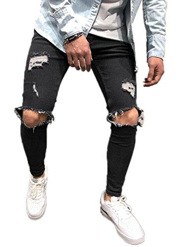 Men's Ripped Skinny Denim Jeans Slim Fit Stretch Pencil Pants Distressed Rip Trousers Stylish Straight Leg Demin Pants (Black, M)