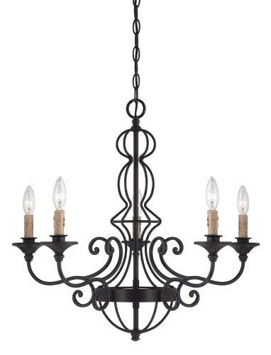 (Designers Fountain 85585-NI Tangier 5 Light Chandelier, Natural Iron)