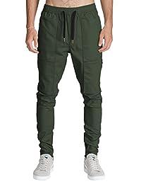 ITALY MORN Mens Cargo Chino Pant Casual Tapered Slim Elastic Waist Multi Pockets