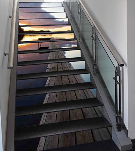Stair Stickers Wall Stickers,13 PCS Self-adhesive,Art,View of Sunset over an Old Oak Deck Pier and Calm Water of the Lake Horizon Serenity,Multi,Stair Riser Decal for Living Room, Hall, Kids Room Deco
