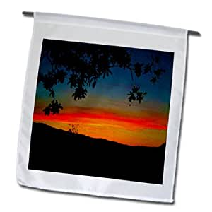 Jos Fauxtographee Realistic - A beautiful Ivins, Utah Sunset with a tree framing the shot - 18 x 27 inch Garden Flag (fl_61447_2)