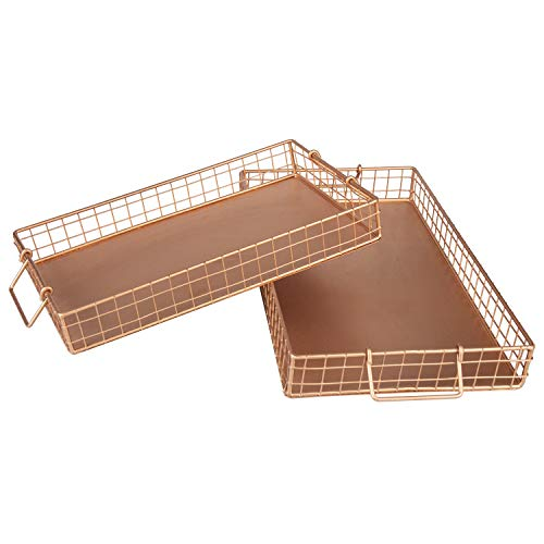 MyGift Copper-Tone Metal Wire Serving Trays with Handles, Set of 2