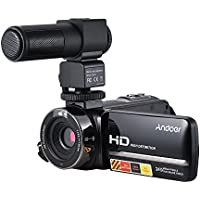 Camera Camcorder, Andoer HDV-3051STR Portable 24MP Digital Video Camera 1080P Full HD with Night-shot 3.0 Rotatable LCD Touch Screen 16X Digital Zoom with M101 Stereo Recording Interview Microphone