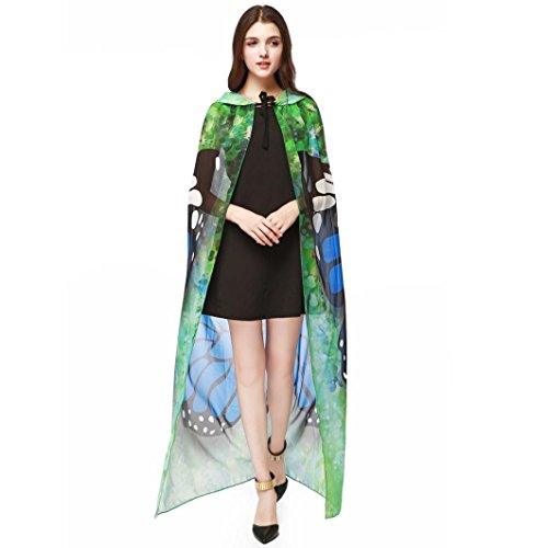 Novelty Shawl , JUNKE Women Hollaween Chiffon Print Butterfly Wing Cape Scarf Peacock Poncho Shawl Wrap (140100CM, (Hollaween Costumes)