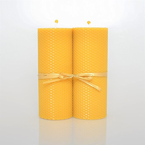 100% Pure Beeswax Pillar Candle Set of 2 LARGE Size 7 x 2.76 in (18 x 7 cm) Hand Rolled Natural And Lovely Honey Scent 100% Handmade