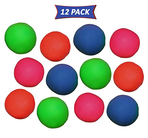 SN Incorp. Pull and Stretch Bounce Ball Assorted Colors - Bulk Pack of 12 Fun Stress Balls -