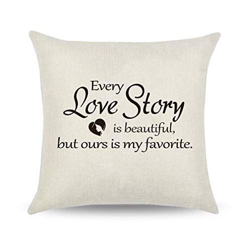 CARRIE HOME Love Story Pillow Covers 18x18 Love Gifts for Boyfriend Decorative Throw Pillow Cover for Home Sofa Couch