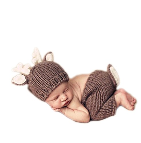 [Home-organizer Tech Photography Prop Baby Girl Boy Cute Cartoon Style Crochet Knitted Costume Hat Pants] (Fawn Costume Headband)