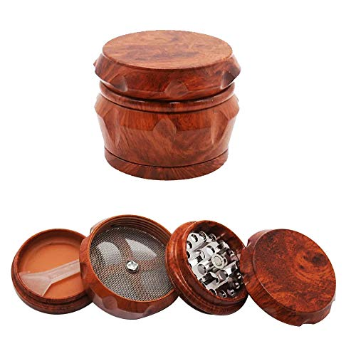 - Wooden Herb Grinder, Classic Red Wood Herb Grinder, 1.6 inch 4 Piece Herb Spice Grinders with Pollen Catcher