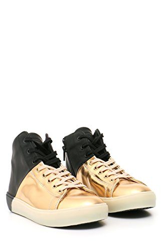 Leather Crown Zapatillas Para Mujer Negro y Dorado It - Marke Größe