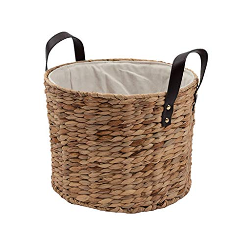 - QYLOZ Uncovered Hamper Straw Storage Basket, Large Breathable Belt Handle Design, Three Sizes (Size : L)