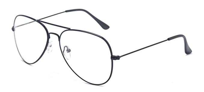 ce36cb25151 Amazon.com  Outray Classic Aviator Metal Frame Clear Lens Glasses ...