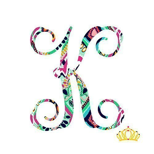 Letter K Vinyl Pattern Monogram Decal for Cup, Tumbler, Laptop, or Car - 3.25 inch height ()