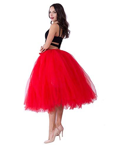party train Handmade Tutu Tulle Skirt 80cm Long overskirt For Adult Photography Wedding Red