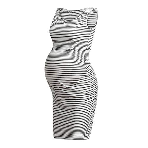 Maternity Tank Dress, Ruched Sleeveless Mama Dress, Pregnancy Baby Shower Dress (S, White)
