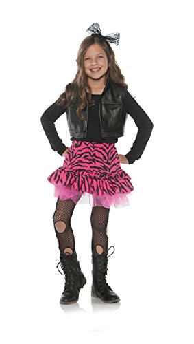 Molly Ringwald Halloween Costumes (Little Girl's 80's Retro Flashback Valley Girl Zebra Rocker Costume - Large)