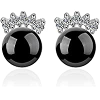 New Womens 925 Sterling Silver Zircon Crystal Pearl Natural Agate Stud Earrings Black