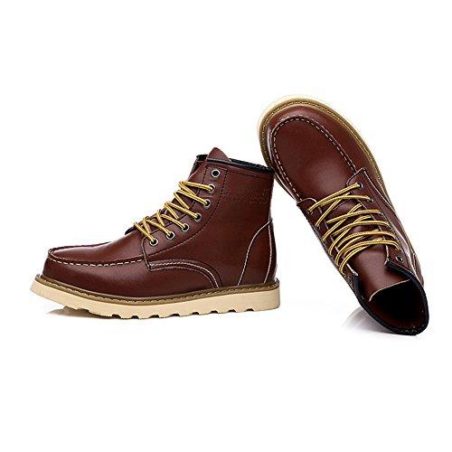 Rismart Mens Street Stil Mode Plattform Konstläder Boots Päls Fodrade Tillgänglig Bourgogne Sn0027 Us8.5
