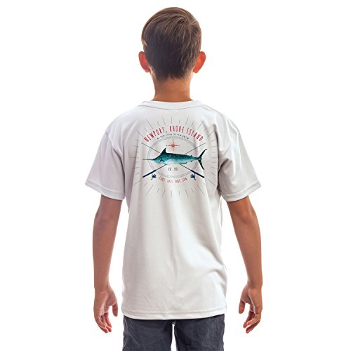 - SAND.SALT.SURF.SUN. Marlin Rods Florida Youth UPF 50+ Sun Protection Short Sleeve T-Shirt Large White
