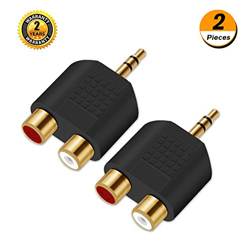 (3.5mm to RCA Splitter Adapter - Oxsubor Gold Plated 3.5mm Male Stereo to 2 RCA Female Jack Y Plug Audio Converter (2 Pack))