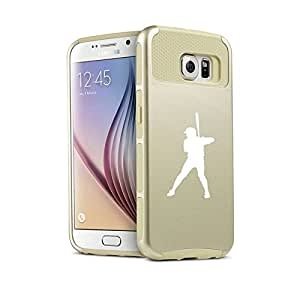 Samsung Galaxy S6 Shockproof Impact Hard Case Cover Baseball Player (Gold)