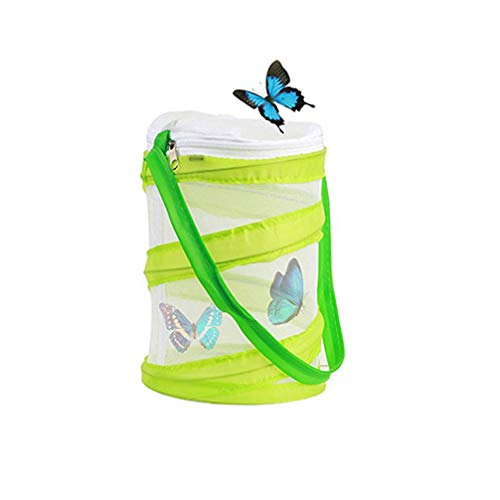 Wenosda Butterfly Habitat Collapsible Bug Catcher Net Mesh Insects Plant Cage Terrarium Pop-up for Kids/Child/Toddler Catching Crickets/Firefly/Caterpillars/Ladybird/Finsh etc (Green, Small Size) from Wenosda