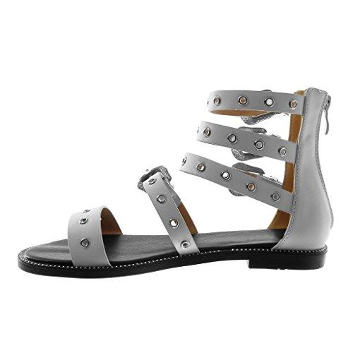Bloc Gladiator Sangles Mode Cm Chaussures Bride Blanc Talon Angkorly De Cheville Des Boucle Femmes La 1 Sandales À Perforé 5 Multiples dXOqOwZ