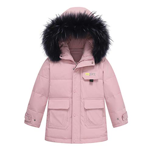Price comparison product image Mousmile Toddler Boys& Girl Cotton Overcoat Fur Collar Hooded Coat Winter Padded Kids Puffer Jacket (Pink,  7-9 Years)