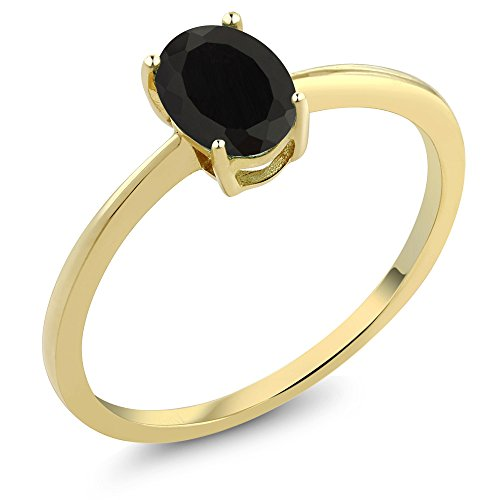 [0.80 Ct Oval Black Onyx 10K Yellow Gold Solitaire Engagement Ring (Sizes 5,6,7,8,9)] (10k Gold Onyx Diamond Ring)