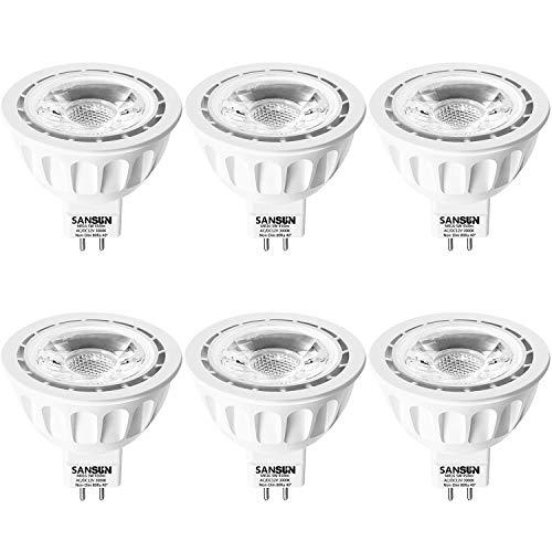 5W LED MR16 Light Bulbs, 12v 50w Halogen Replacement, GU5.3 Bi-Pin Base, Soft White 3000K, (Pack of 6) ()